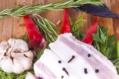 Tocino de la manteca de cerdo con las hierbas de las verduras Imagen de archivo libre de regalías
