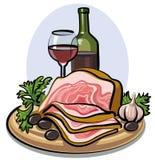 Tocino fresco y vino rojo Imagen de archivo