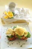 Tocino y huevo Benedicto Fotografía de archivo