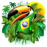 Toco Toucan con la bufanda de la bandera del Brasil en el ejemplo del vector de la selva libre illustration