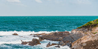 Toco Trinidad and Tobago West Indies rough sea beach cliff edge panorama Stock Image