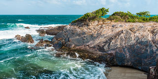 Toco Trinidad and Tobago West Indies rough sea beach cliff edge panorama Stock Images