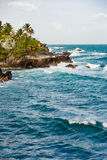 Toco Trinidad and Tobago West Indies rough sea beach cliff edge view Stock Images