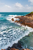 Toco Trinidad and Tobago West Indies rough sea beach cliff edge view Stock Image