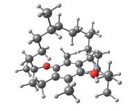 Tocoferol (estructura molecular de la vitamina E) en el fondo blanco Fotos de archivo libres de regalías