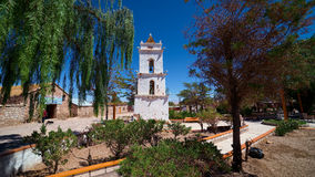 Toconao村庄,在圣佩德罗火山de阿塔卡马,智利附近 库存图片