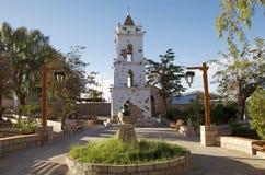 Toconao kyrkligt torn i Toconao, Chile royaltyfri bild
