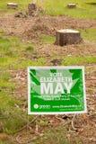 Tocones de la muestra y de árbol del Partido Verde Foto de archivo libre de regalías