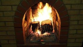Tocones de madera que queman en chimenea del ladrillo almacen de metraje de vídeo
