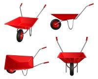 Toczący wheelbarrow z czerwonym ciałem i rękojeściami, set wektorowe ilustracje Zdjęcia Royalty Free
