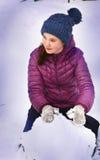 Toczny śnieżny piłki zakończenie w górę zima portreta Zdjęcia Royalty Free