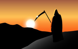 Tod bei Sonnenuntergang vektor abbildung