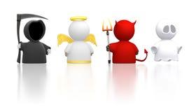 Tod, Engel, Teufel und Geist - weiße Version Stockbild