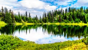 Tod Lake near the top of Tod Mountain at Sun Peaks in BC Canada. Tod Lake at an elevation of 6,545 feet is near the top of Tod Mountain at the alpine village of stock photography