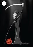 Tod mit Kürbis Halloween-schwarzem Hintergrund stock abbildung