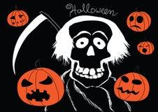 Tod mit Kürbise Halloween-Hintergrund lizenzfreie abbildung