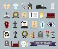 Tod, Ritual und Beerdigung farbige Ikonen Lizenzfreie Stockfotos