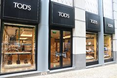 Tod's fashion brand. LISBON, PORTUGAL - JUNE 6, 2018: Tod's fashion shop at Avenida da Liberdade (Liberty Avenue) in Lisbon. This boulevard is renowned for royalty free stock photo