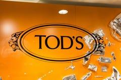 Tod`s logo on Tod`s shop stock photo