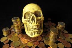 Tod und Geld-Konzept-Schädel Lizenzfreies Stockbild