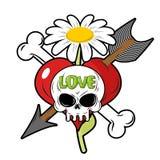 Tod und Liebe Schädel und rotes Herz Zeichen für Tätowierungen Lizenzfreies Stockfoto