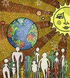 Toda ao redor. Sun e terra e planetas. Fundo estrelado. Silhuetas dos povos Imagens de Stock