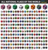 Toda a bandeira nacional do mundo Projeto superior isométrico cúbico Vetor ilustração do vetor