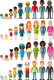 Toda la categoría de edad del afroamericano, gente europea Las generaciones sirven y mujer