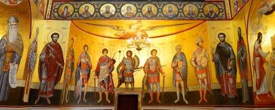 Toda la galería de los santos Interior de Bizantium de la catedral imagen de archivo libre de regalías