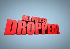 Toda la gota de precios Imagen de archivo libre de regalías
