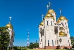 Toda la iglesia de los santos en Mamayev Kurgan en Stalingrad, Rusia fotografía de archivo
