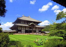 Todai-ji temple in Nara is also home to the Great Buddha Hall and the lovely grounds that surround it. Stock Photos