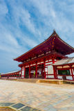 Todai-Ji Temple Red Gate Angled Blue Sky V Stock Images