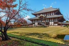 Todaiji寺庙的了不起的菩萨霍尔在奈良 库存图片