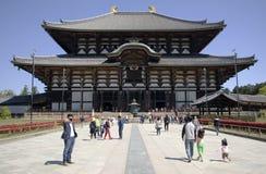 Todaiji temple, Nara, Japan. Buddhist temple Todai-ji with tourist in foreground in Nara, Japan Royalty Free Stock Photo