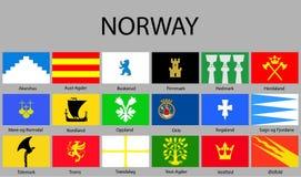 todas as bandeiras das regiões de Noruega ilustração royalty free