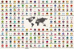Todas as bandeiras de países do mundo no formulário circular projetam, arranjado em ordem alfabética, com cores originais e detal ilustração do vetor