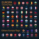 Todas as bandeiras do grupo completo do vetor da coleção de Europa isolado no preto ilustração do vetor