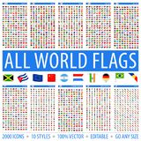 Todas as bandeiras do mundo - ajuste dos estilos diferentes ?cones lisos do vetor foto de stock royalty free