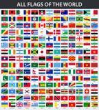 Todas as bandeiras do mundo em ordem alfabética Fotos de Stock Royalty Free