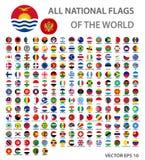 Todas as bandeiras nacionais do grupo do mundo O mundo oficial embandeira botões do círculo, cores exatas ilustração do vetor