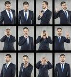 Todas as emoções, cara do homem de negócio fotografia de stock