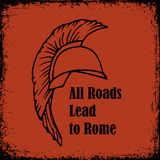 Todas as estradas conduzem às citações de Roma Esboço do vetor do gladiador do guerreiro de Roman Helmet Greek Fotos de Stock Royalty Free