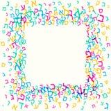 Todas as letras do alfabeto hebreu, ABC judaico modelam, fundo colorido para o molde do cartão das crianças ilustração stock