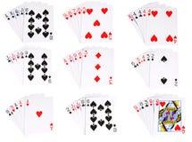 Todas as mãos classificadas no póquer Imagens de Stock