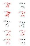 Todas as mãos de póquer Fotografia de Stock