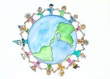 Todas as nações - uma pintura da aquarela foto de stock royalty free