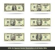 Todas as notas de dólar lisas Fotos de Stock