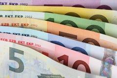 Todas as notas do Euro um após o outro Fotografia de Stock Royalty Free