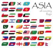todas las banderas de país de Asia Fotografía de archivo